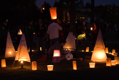 Circles of lanterns in the grass