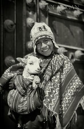 Boy with sheep, Cusco, Peru