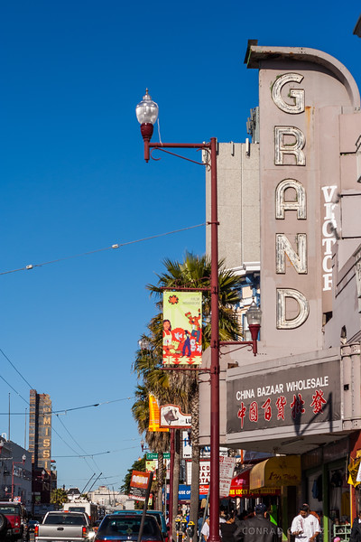 2006: The marquee of the Grand Theater. It opened in 1940 but was a Chinese import store when I took this photograph. The New Mission Theater marquee is visible down the street.