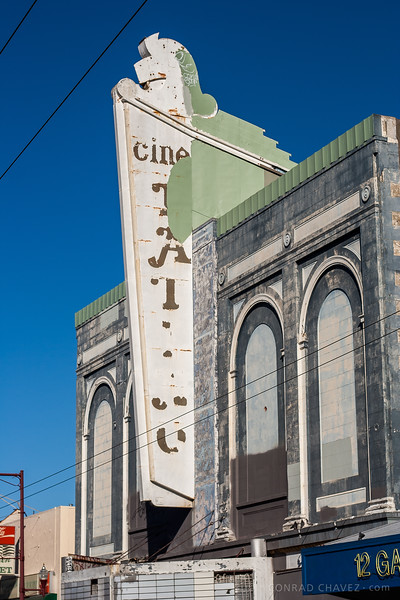 2006: Marquee of the Cine Latino. It was built as the Wigwam Theatre in 1913, later called the New Rialto Theatre and then the Crown Theatre. It was across the street from the New Mission Theater, but in 2014 the entire façade was gone, and the building stripped down to its frame.
