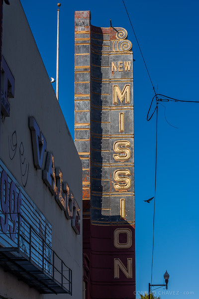 2006: Marquee of the New Mission Theater, built in 1916. When I took this photo, the theater had been closed for years. Apparently it last served as a furniture store.