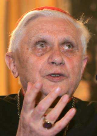 ** FILE ** Cardinal Joseph Ratzinger of Germany, who became the new Pope at the Vatican Tuesday April 19, 2005, is seen in this Feb. 22, 2005 file photo. Ratzinger will be Pope Benedict XVI.  (AP Photo/Domenico Stinellis)
