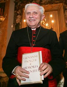 "** FILE ** Cardinal Joseph Ratzinger of Germany, who became the new Pope at the Vatican Tuesday April 19, 2005, is seen in this Feb. 22, 2005 file photo with Pope John Paul II's book ""Memory and Identity."" Ratzinger will be Pope Benedict XVI.  (AP Photo/Domenico Stinellis)"