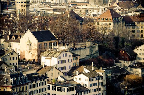 City view from Karlsturm Grossmünster