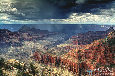 Storm Passing  Through the Grand Canyon - from North Rim