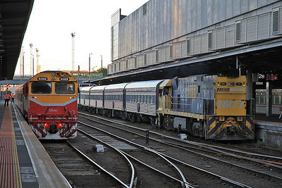 Pacific National NR77 arr Melbourne Southern Cross, ECS for 'The Overland' - 19/11/13.