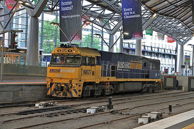 Pacific National NR77, Melbourne Southern Cross, running round the stock for 'The Overland' - 19/11/13.