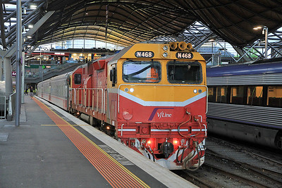 V/Line N468, Melbourne Southern Cross, 8011 07.42 to Swan Hill - 19/11/13.