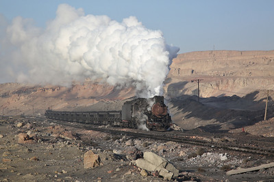 JS 8173 hauls a loaded coal train out of the pit - 12/01/18