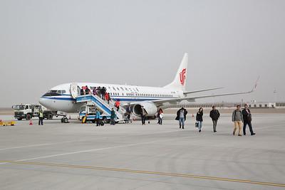 Air China Boeing 737-89L, on the tarmac at Hami, CA1299 07.55 Beijng-Shihezi - 21/03/17.