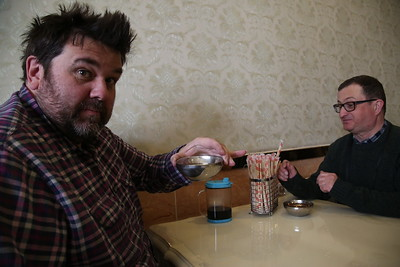 Russ and Nigel enjoying their pre-lunch 'cuppa' - 21/03/17.