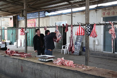 Sandaoling market - some sort of butchery occurring - 21/03/17.
