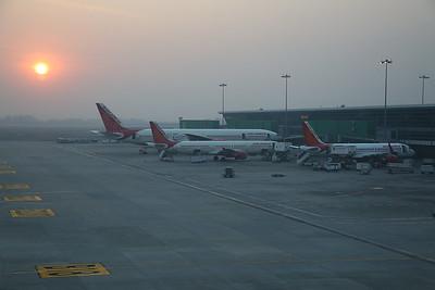 Air India jets, Delhi Indira Ghandi airport at sunset - 23/11/17.