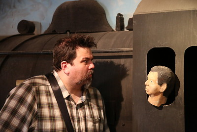 Elvis impressed with the severed-head-driver of the mock up steam loco in Amman station museum - 10/05/17.