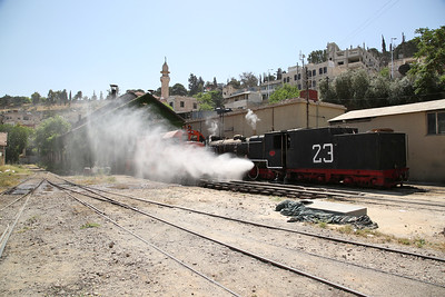 JHR 2-8-2 No.23 (RS&H 7433/1951), Amman shed, being blown down to effect some quick tube repairs - 10/05/17.