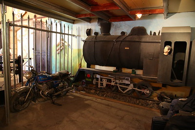 Amman station museum - a strange mix of exhibits including a mock-up steam loco complete with severed-head-driver and an old Suzuki motorcycle ! - 10/05/17.