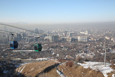 View of Almaty from Kök-Töbe hill, including the cable car used to get up here - 10/01/18