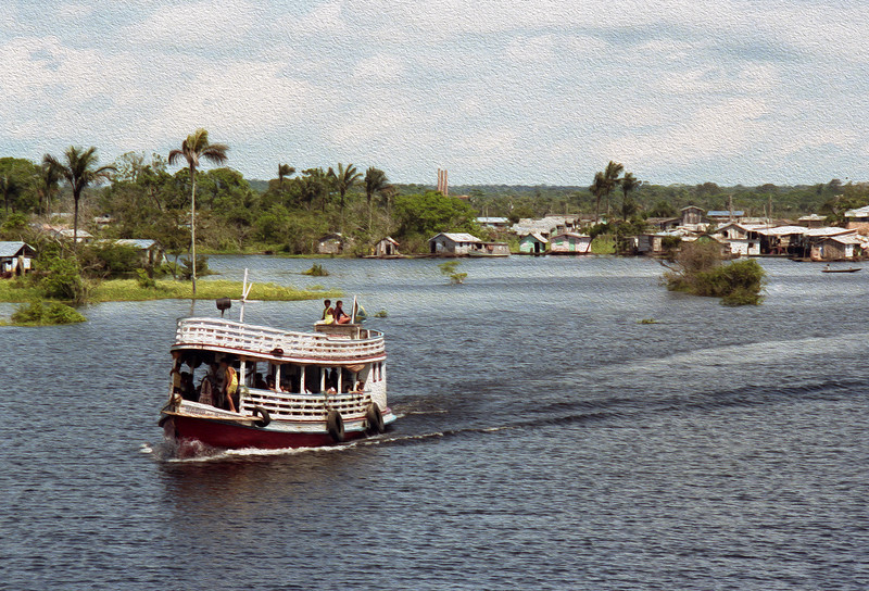 The waterfront on the right bank of the Rio Negro, one of two main tributaries to the Amazon.