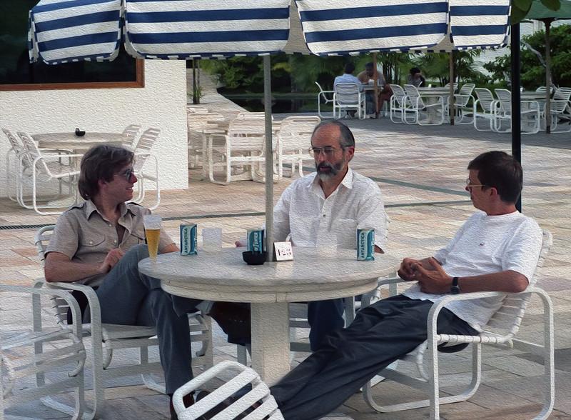Graduate student Dar Roberts and Prof John Adams from U Washington enjoy a brew at the Hotel Tropical Manaus.