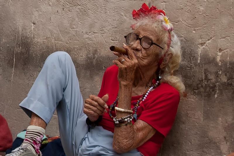Little Old Cuban Lady Enjoying a Cigar, Havana, Cuba