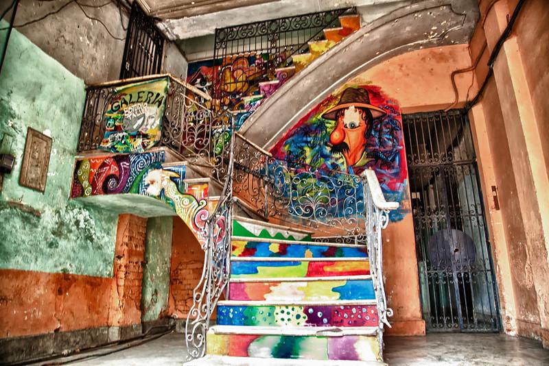 Artistic Stairwell in Havana, Cuba