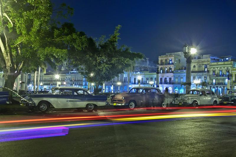 Classic American Autos at Night in Havana, Cuba