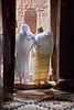 Two Women Exiting a Lalibela Church