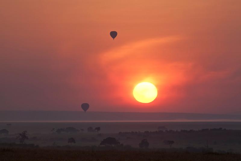 Sunrise with Hot Air Balloons on the Masai Mara