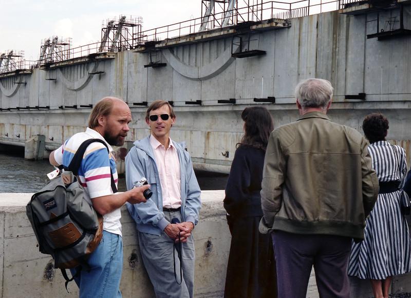 We visited the great flood control project on the Gulf of Finland. (Комплекс защитных сооружений Санкт-Петербурга от наводнений) Ed Eloranta (UW) and John Melak (UCSB) at the floodgates.