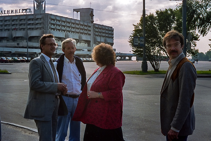 Vladimir, Sam, Natasha & Don outside of Morskoy Vokzal. This was Sam's and Don's first visit to the Soviet Union.