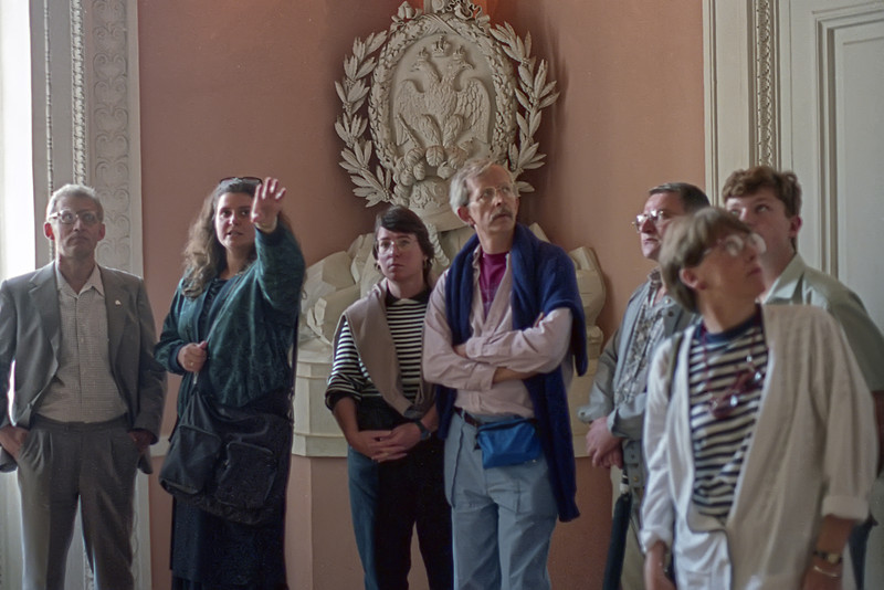 Anatoly Shevernogov is on the left, Sam & sue at the center. Inside the palace at Pavlovsk