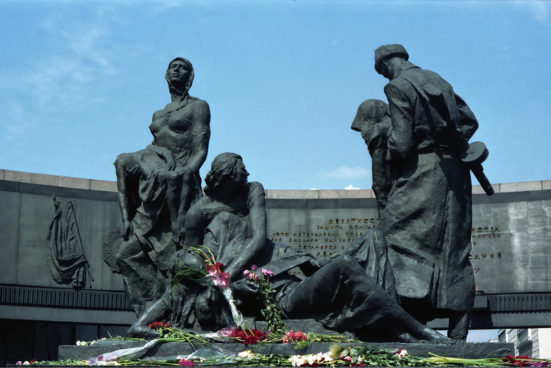 These proud but grieving figures lie at the heart of the monument, inside the gigantic gun turret. The flowers are placed by visitors, including brides and grooms.