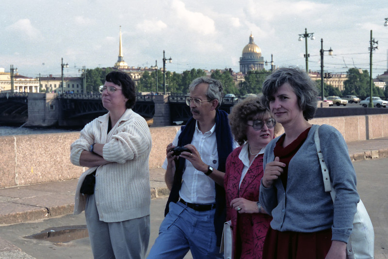 Sue & Sam Goward along with our hosts, Natasha Vandysheva & Tatiana Butalyna along the banks of the Neva. St Isaac's Cathedral is in the background.