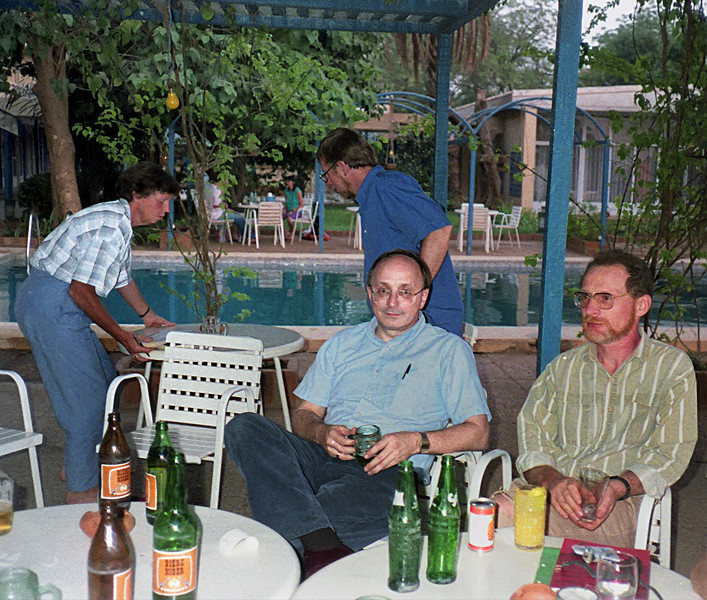 """End of the day at the """"Grand Hotel"""" in Niamey. Bob & Steve."""