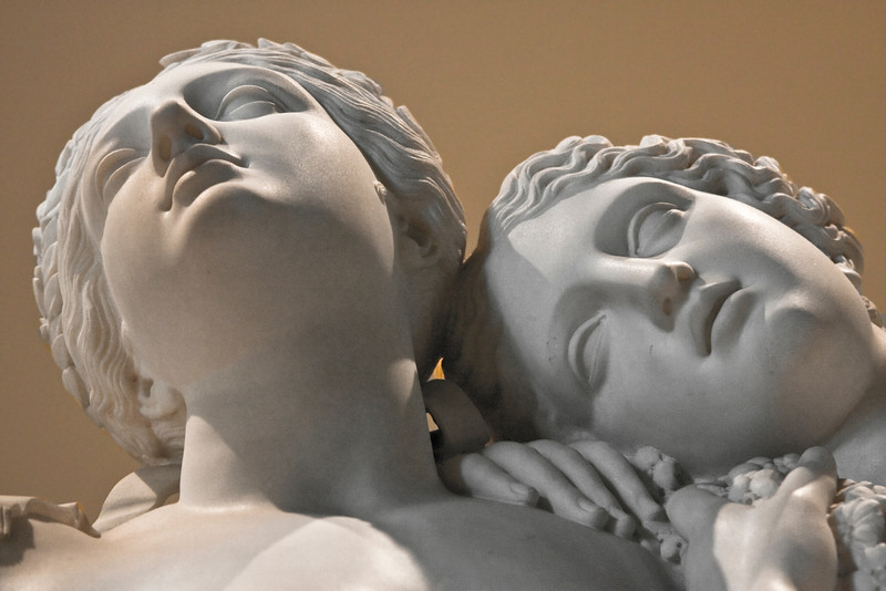 Two of the Graces (Aglaea and Thalia) of the Three Graces Sculpture in the Louvre.