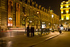 A metro station near the Louvre at night.
