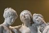 The Three Graces sculpture, the daughters of Zeus, Euphrosyne, Aglaea and Thalia in the Louvre.