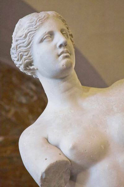 Close up of the Venus de Milo in the Louvre.