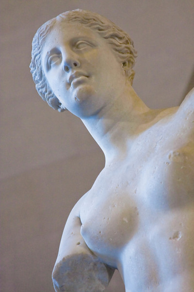 Close up of the Venus de Milo in the Louvre.