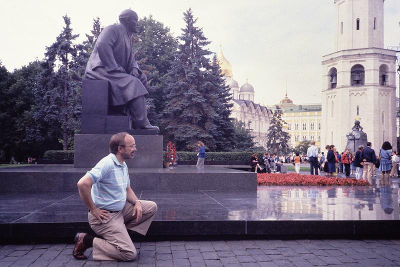 Bob Does Lenin in the Kremlin<br /> (The statue was removed from the Kremlin in 1995)<br /> September, 1988