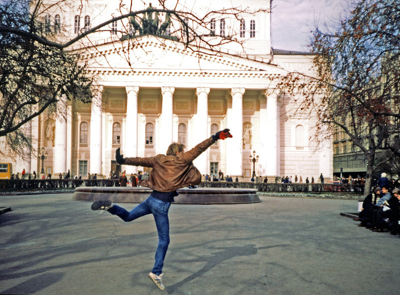 Piers Startles the Russians with a Ballet Leap in front of the Bolshoi Balet (Большой Балет) <br /> November, 1987 (Picture by Jim Tucker)