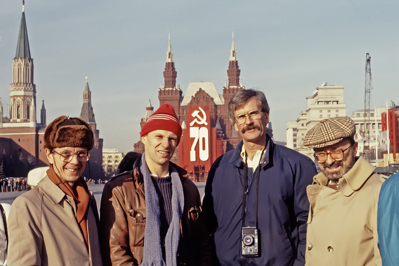 Красная площадь (Red Square) with Banner Celebrating 70 Years of Communism.<br /> Francois Becker (France), Piers Sellers (UK/US), Jim Tucker (US) and Bob Murphy (US)<br /> November 1987