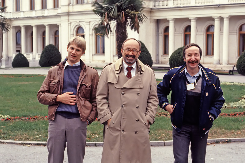 Piers, Bob, & Our Interpreter Act Out the Roles of Churchill, Roosevelt & Stalin at Yalta<br /> November, 1987