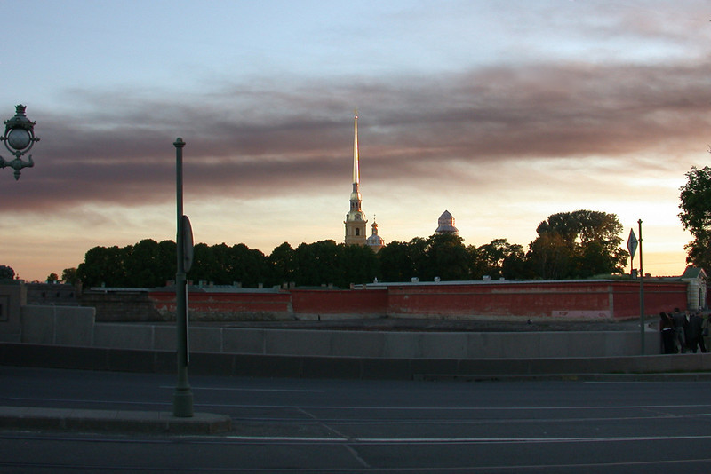 The Gold Spire of Peter and Paul Fortress at 11 PM