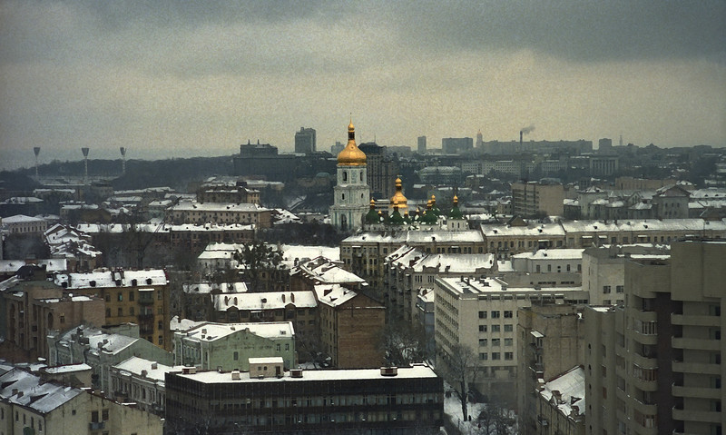 The golden domes of this church provide the only relief from this dreary skyline.