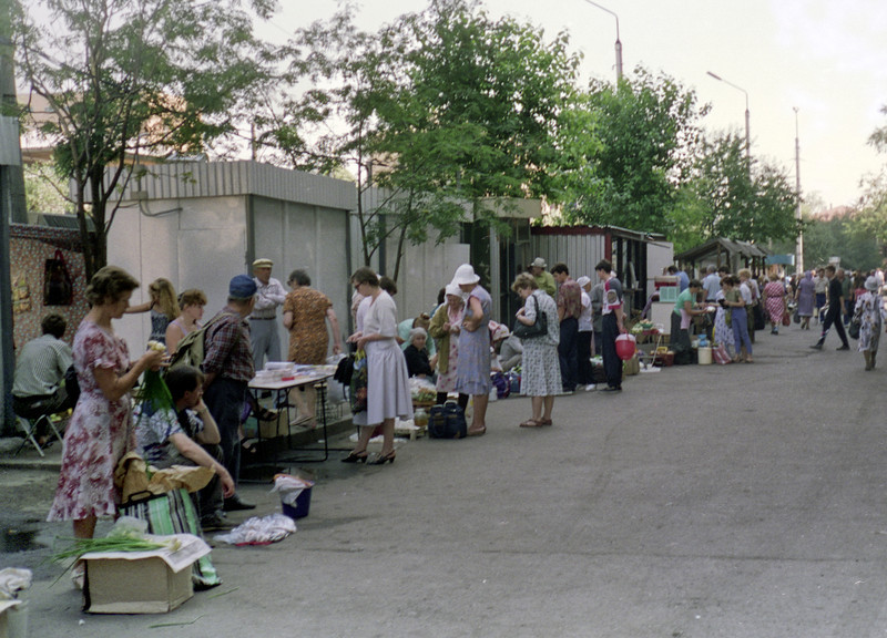 This was a time (1992) of severe economic trauma in Russia and many folks were selling off small household items and crafts on the streets.