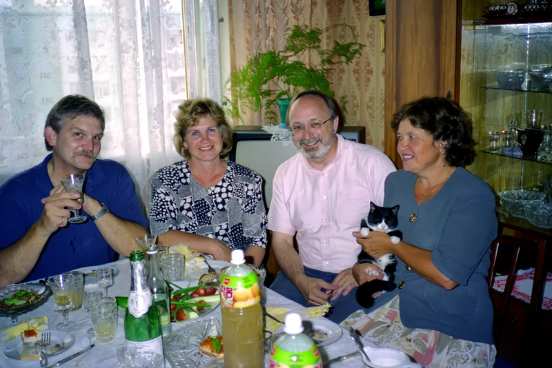 Once again, Yevgeny and Lidia hosted us. The fellow on the left is Rich, from one of the American firms that supplied the receiving station. Next to him is a friend of the Durnovs, then me, and then Yevgeny's wife, Lidia.