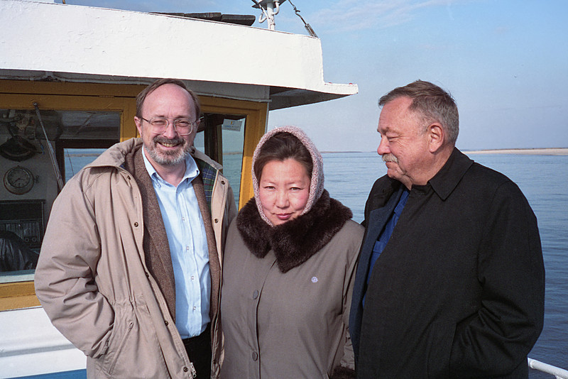 This is me, cruising on the Lena River with Maya and Ed Rich. Ed was an engineer recalled from retirement and assigned to work with me on the satellite station.