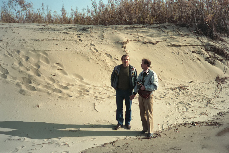 Vasily and Yevgeny on the sandy banks of the Lena River.