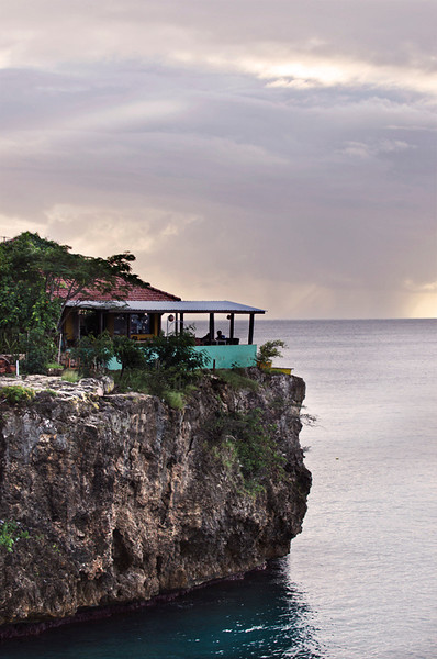 Cliff and restaurant at Playa Forti, Curaçao